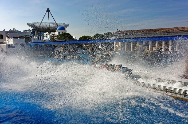 Water splash zone Poseidon coaster ride royalty free stock photography
