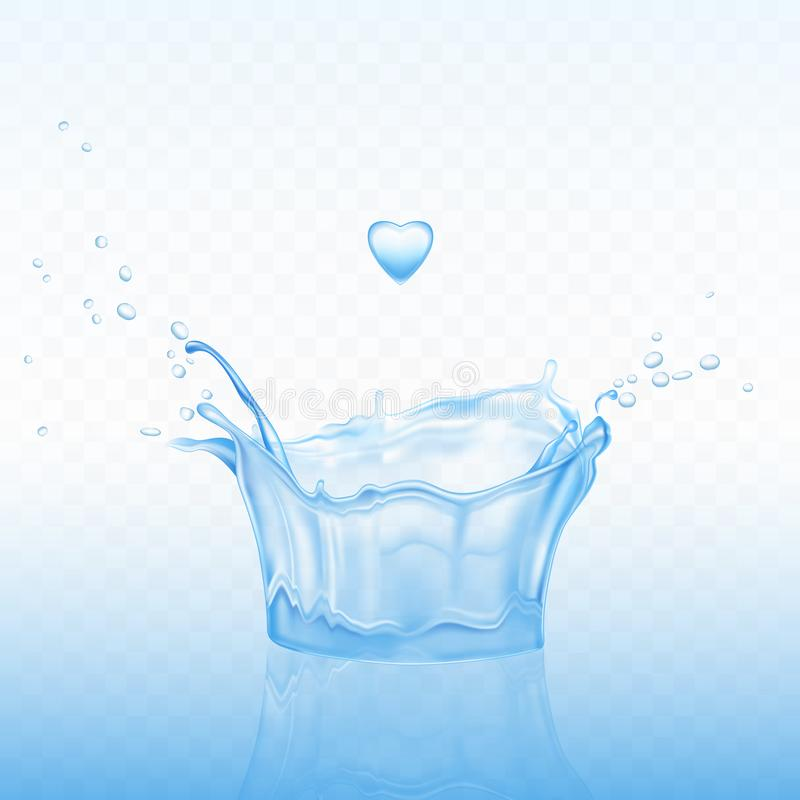 Water splash in shape of crown with spray droplets. And heart drop on blue transparent background. Dynamic motion on calm liquid surface. pure hydration element stock illustration