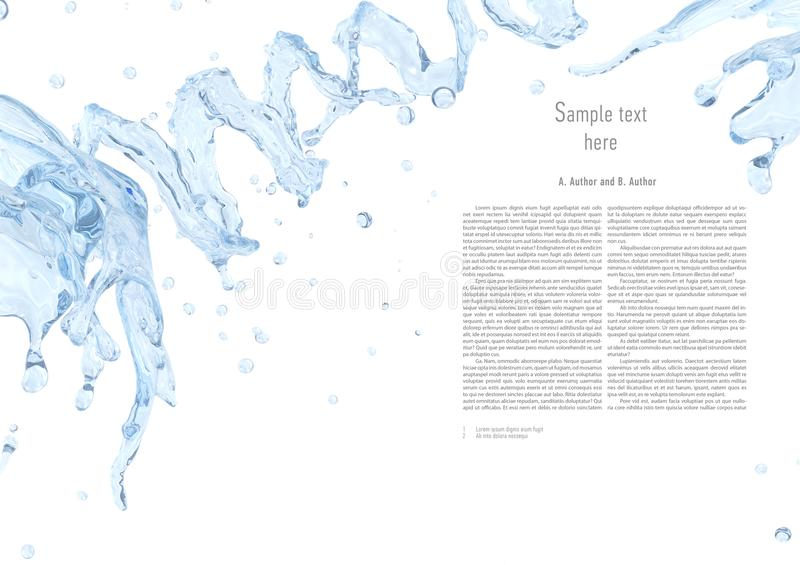 Water splash with water droplets isolated. Liquid template design element. 3D illustration. vector illustration