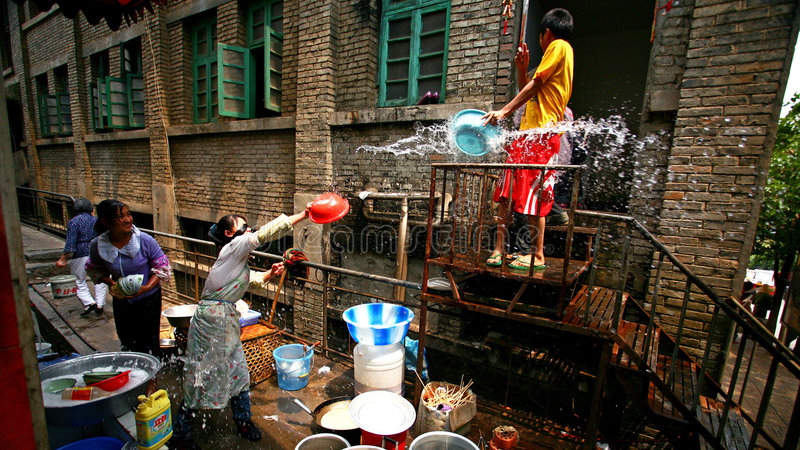 Water-splashing Festival. This picture was taken in YunNan province of China, on April 15th, 2008. It's Water-splashing Festival (the New Year's Day of Dai royalty free stock images