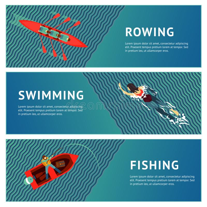 Water sport. Horizontal banners set. People recreation on a river. Flat style illustration. vector illustration