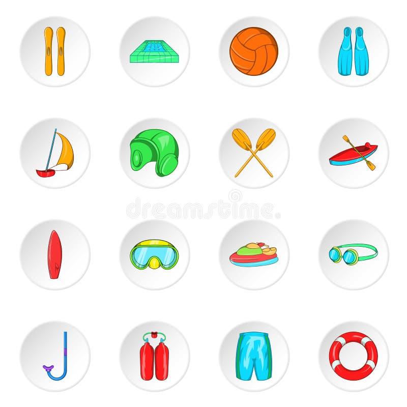 Water sport icons, cartoon style stock illustration
