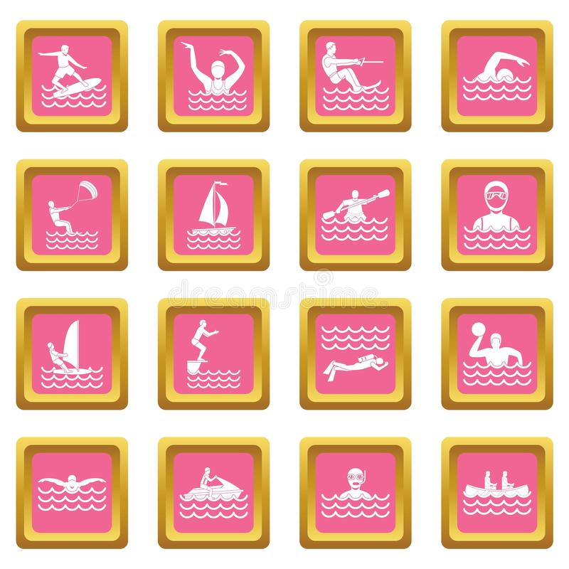 Water sport icons pink vector illustration