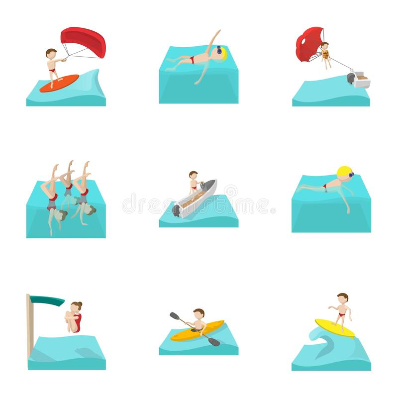 Water sport icons set, cartoon style stock illustration