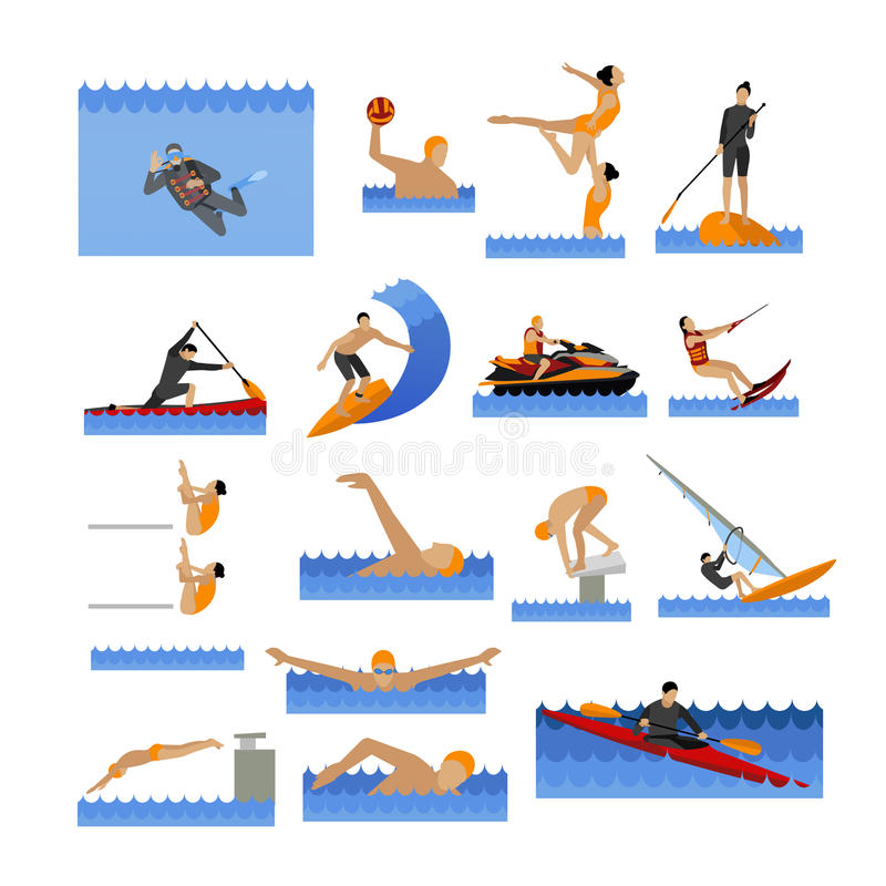 Water sport icons set with people swimming, sailing, jumping to water. Vector illustration in flat style. stock illustration