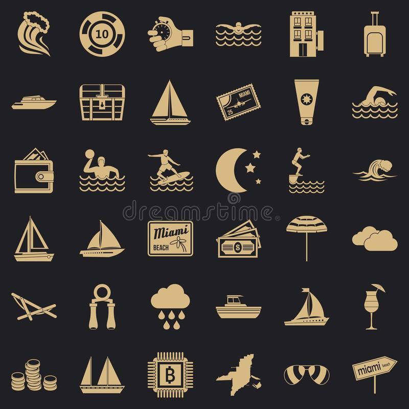 Water sport icons set, simple style vector illustration