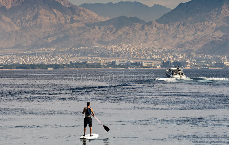 Water sport and other entertainment in Eilat, Israel. Red Sea near Eilat - famous resort and recreation city in Israel royalty free stock photos