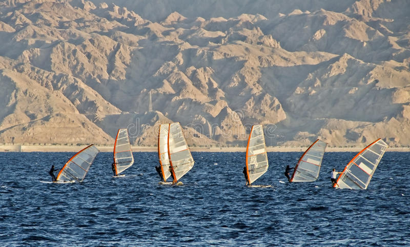 Water sport at the Red Sea, Eilat, Israel royalty free stock photo