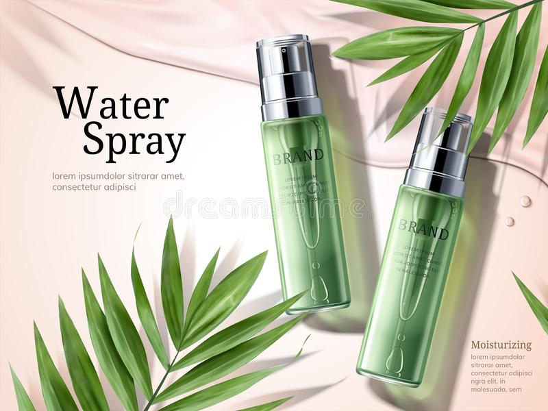 Water spray ads. Green spray bottles with palm leaves elements in 3d illustration stock illustration