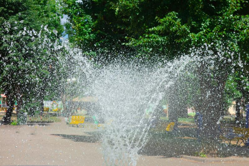 Water sprays and splashes of fountain in park or garden. Jets and drops of waterworks in summer day with green trees on background stock photo