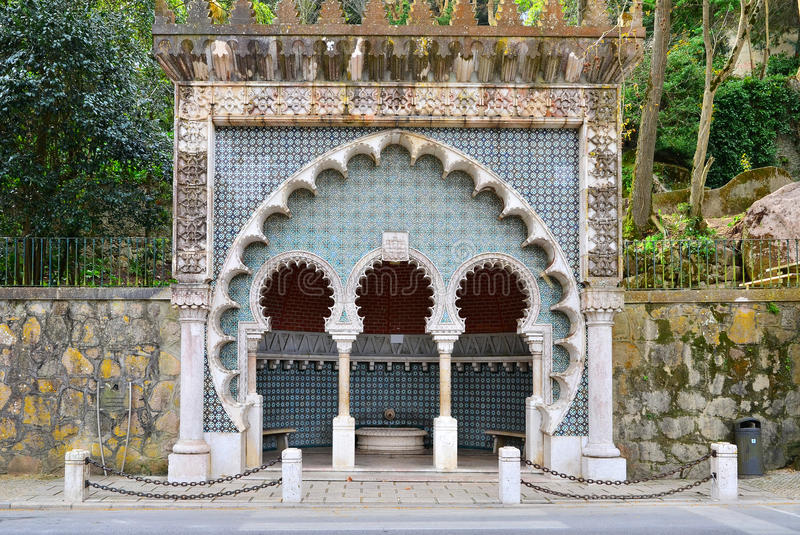 Water spring with azulejo, Sintra royalty free stock photo