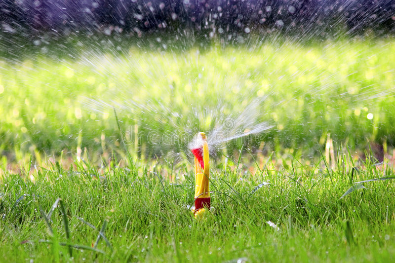 Water sprinkler stock image