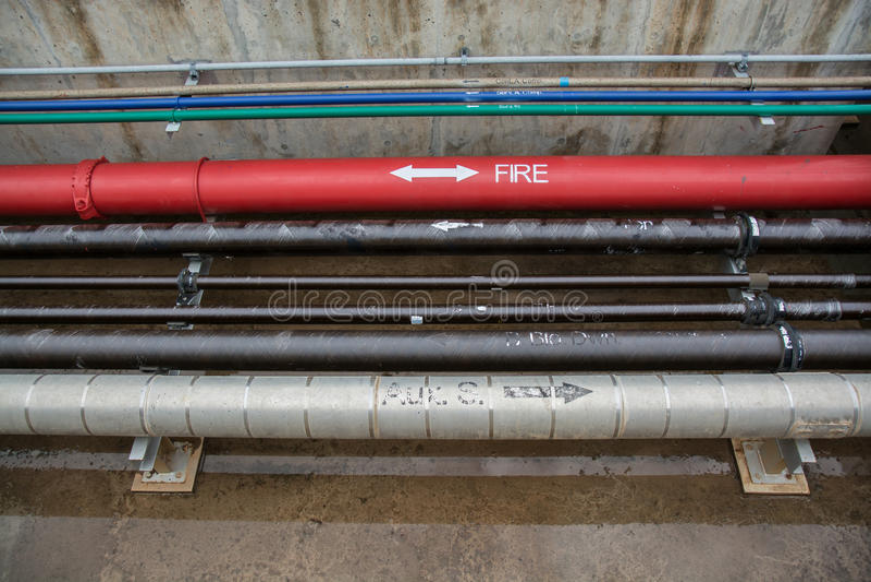 Water sprinkler and fire alarm system, water sprinkler control s. Ystem stock images