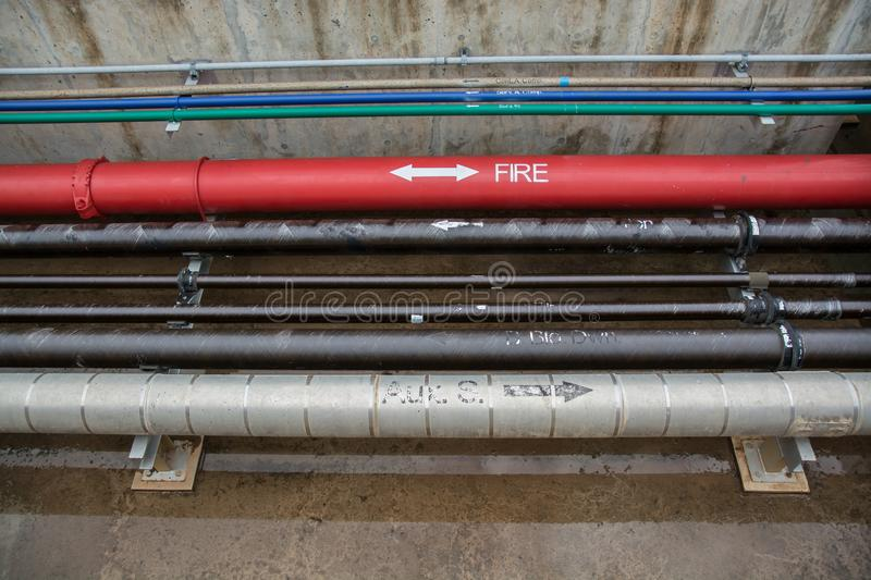 Water sprinkler and fire alarm system, water sprinkler control s. Ystem royalty free stock photos