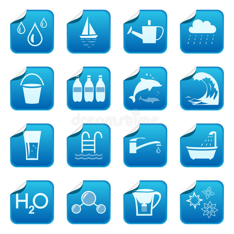 Water stickers. Water symbols on blue stickers stock illustration