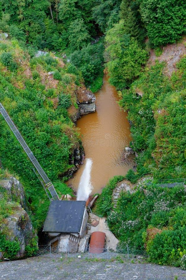 Water storage barrier reservoir exit Robertville, Belgium royalty free stock image