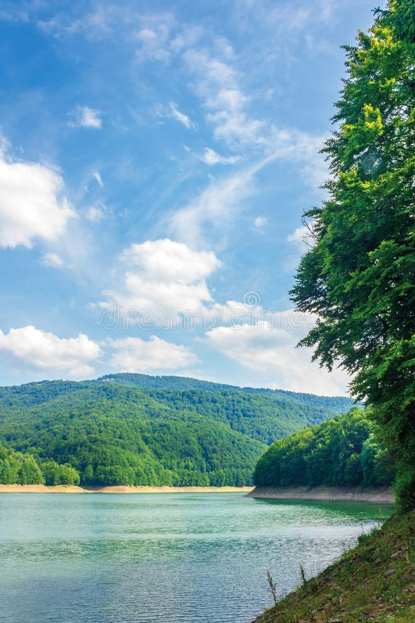 Water storage reservoir in mountains royalty free stock photo