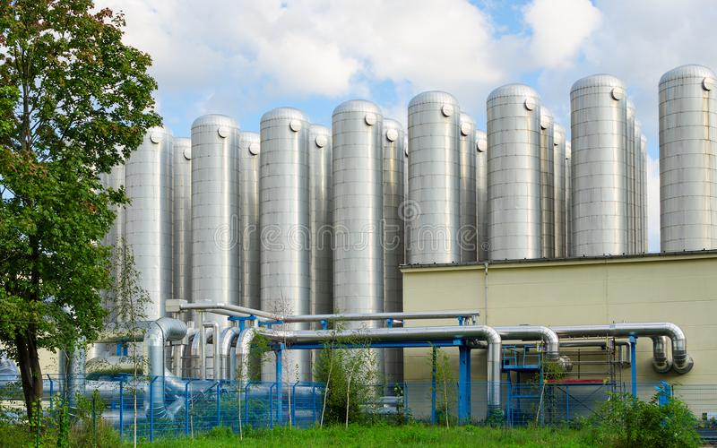 Water storage tanks in eco-friendly industrial sewage treatment system royalty free stock images