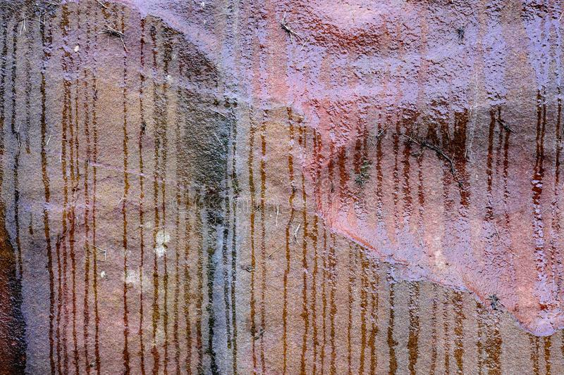 Water Streaks on Sandstone Rock Face, Abstract Pattern stock photography