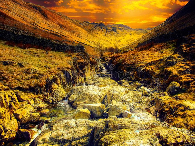 Water Stream With Brown Rocks Painting stock images
