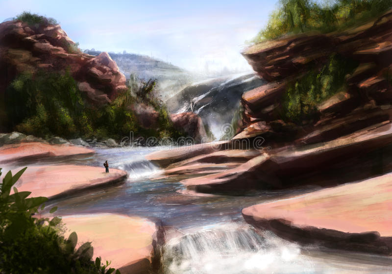 Water Stream. Water stream landscape with rocks, trees and human standing on a shore illustration stock illustration