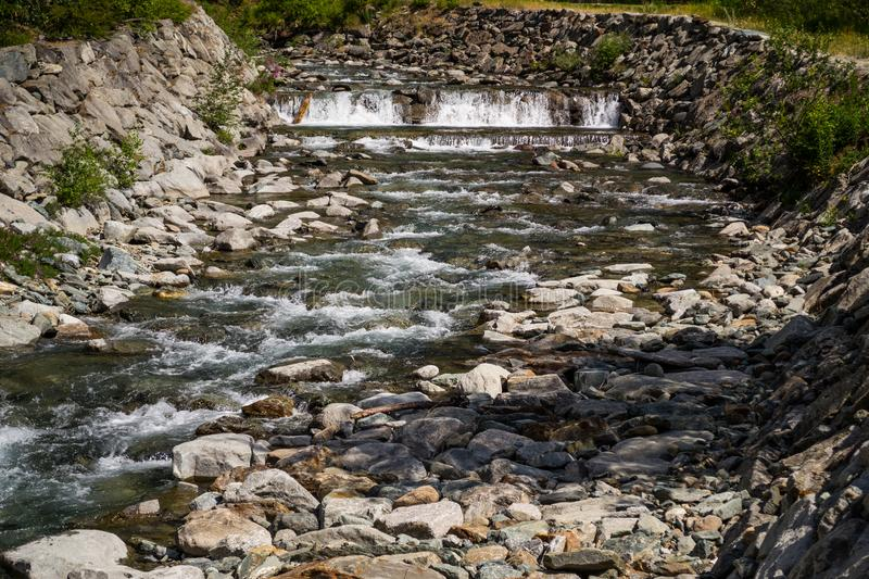 Water stream in mountain stock images