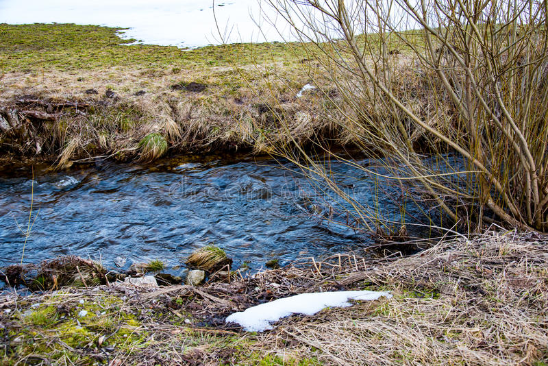Water Stream and snow stock photography