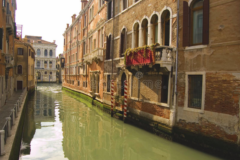 Water street. In Venice, italy royalty free stock photo
