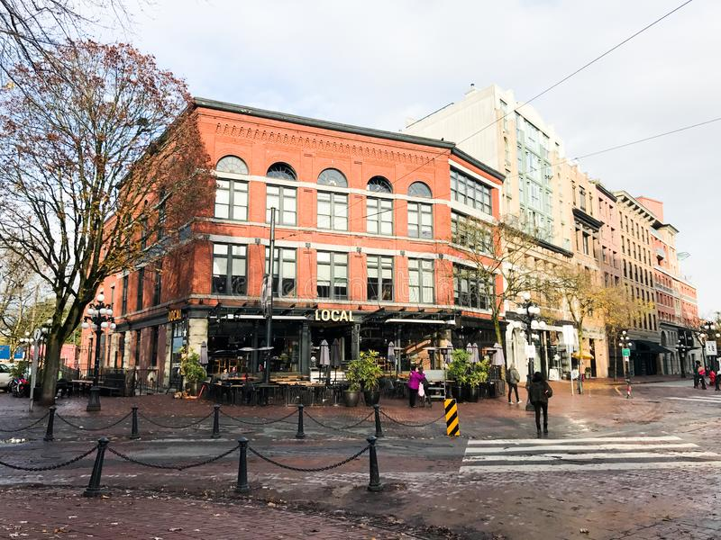 Water Street, Gastown, Vancouver, British Columbia. Historic buildings on Water Street in the Gastown section of Vancouver, British Columbia royalty free stock photo