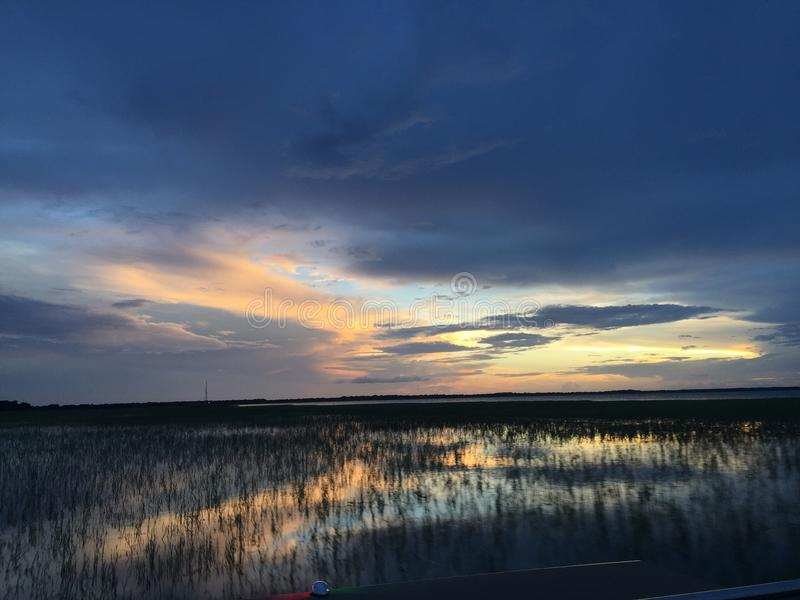 Water sunset stock image