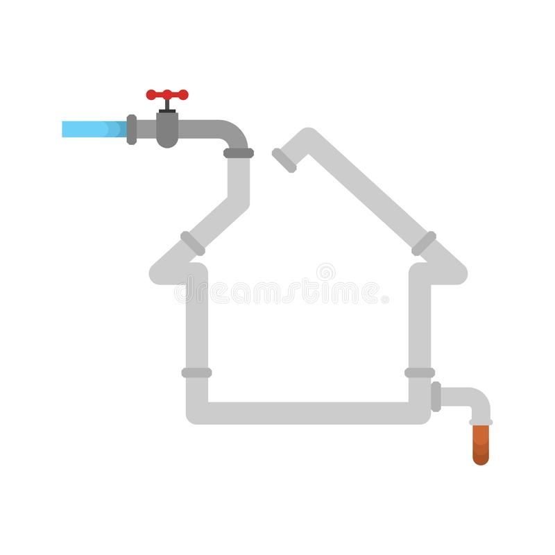 Water supply in house. Silhouette of home made of pipe. Sewerage in house stock illustration