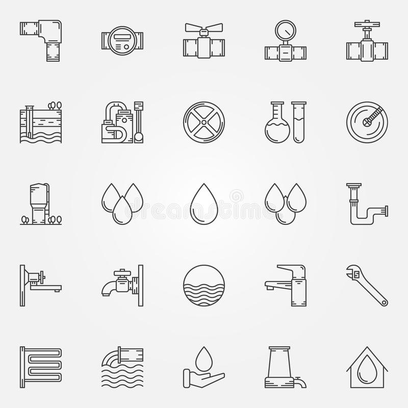 Water Supply Icons Stock Vector Illustration Of Bath 60972617