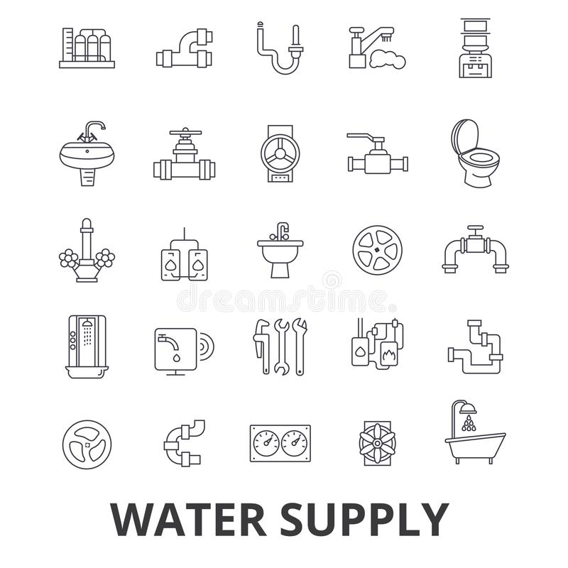 Water supply, pipe, drainage, hvac, pump, irrigation, reservoir line icons. Editable strokes. Flat design vector royalty free illustration
