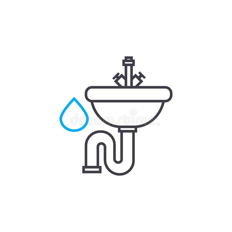 Water supply system vector thin line stroke icon. Water supply system outline illustration, linear sign, symbol concept. vector illustration