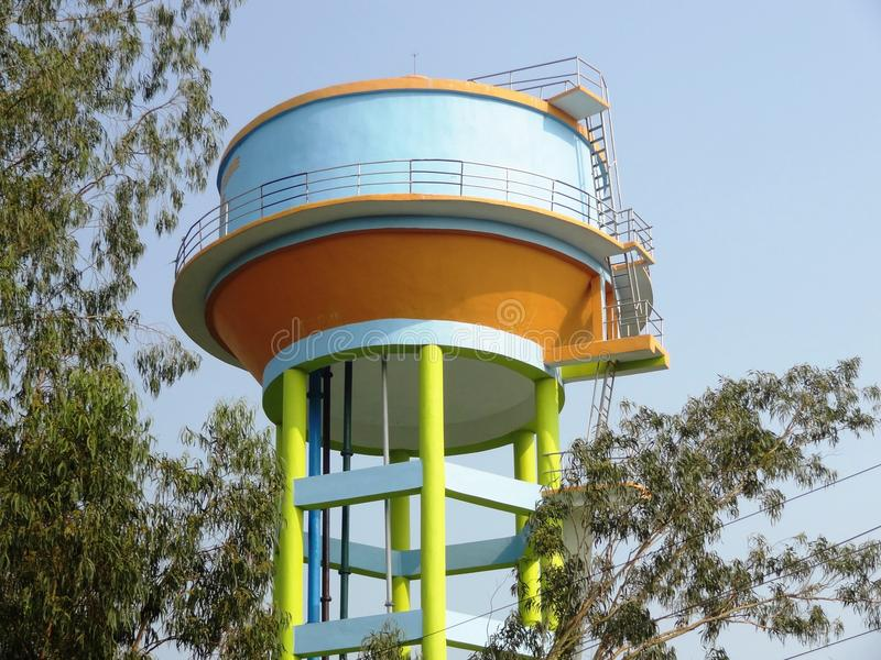 Water supply tank. Water storage tank for supply of drinking water stock image