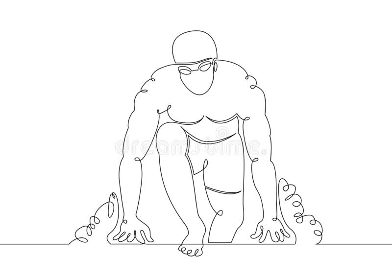 Water  swimmer  swim  athlete  sport  healthy  fitness  gym  swimming. One continuous single drawn line art doodle water, swimmer, swim, athlete, sport, healthy royalty free illustration
