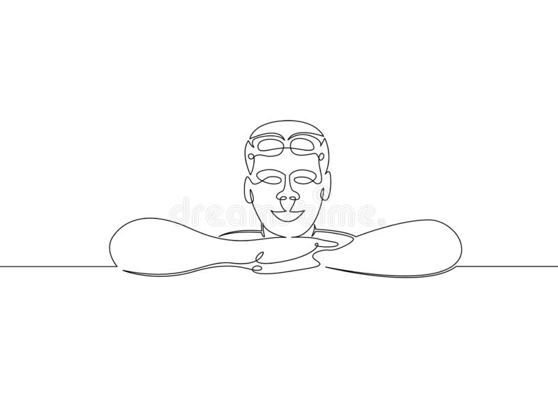Water  swimmer  swim  athlete  sport  healthy  fitness  gym  swimming. One continuous single drawn line art doodle water, swimmer, swim, athlete, sport, healthy stock illustration