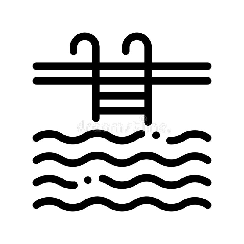 Water Swimming Pool Vector Sign Thin Line Icon. Swimming Pool With Waves, Hotel Performance Of Service Equipment Linear Pictogram. Business Hostel Items royalty free illustration