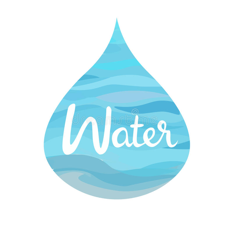 Water symbol of the four elements. Symbol of The Four Elements with lettering.Water splash,water drop,water puddle. isolated on white vector illustration vector illustration
