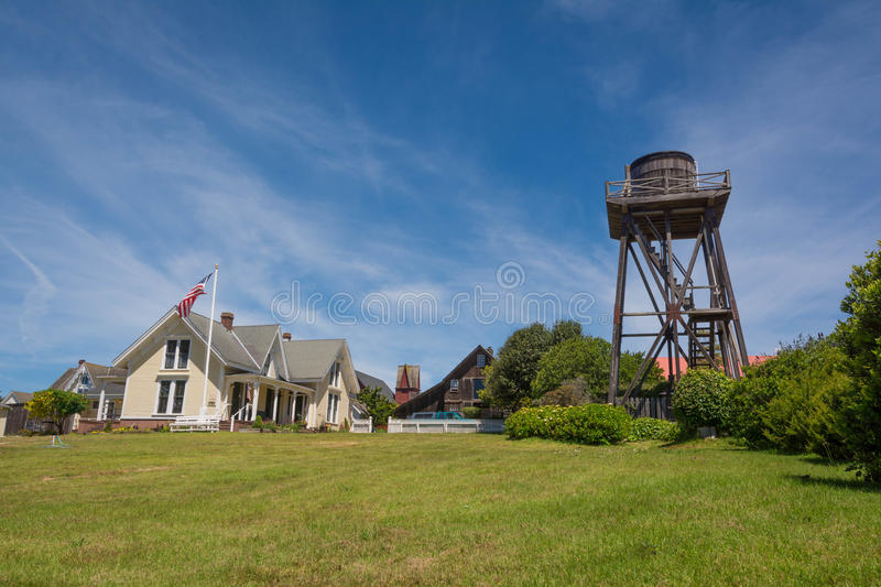 Water tank in Mendocino. A view of a water tank and house in Mendocino royalty free stock images