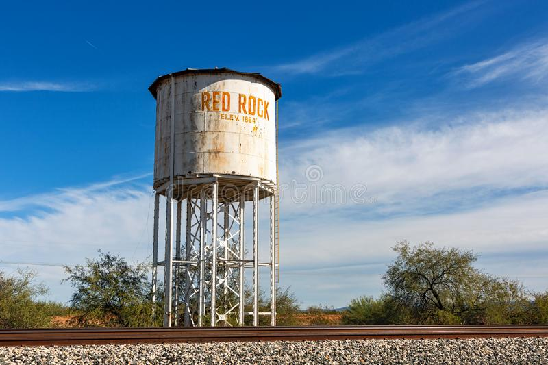 Water Tank next to railroad tracks at Red Rock royalty free stock photography
