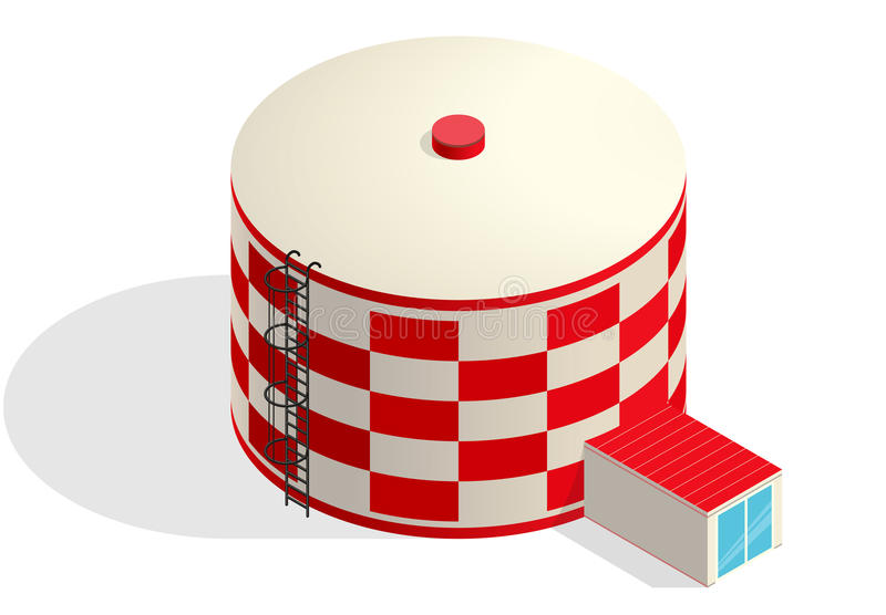 Water tank, red cister. Water treatment isometric building infographic reservoir. royalty free illustration