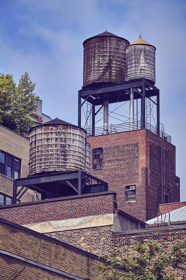 Water tanks, one of the New York City symbols. stock images