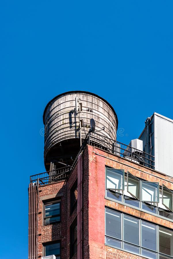 Water tanks in Tribeca in New York stock photography