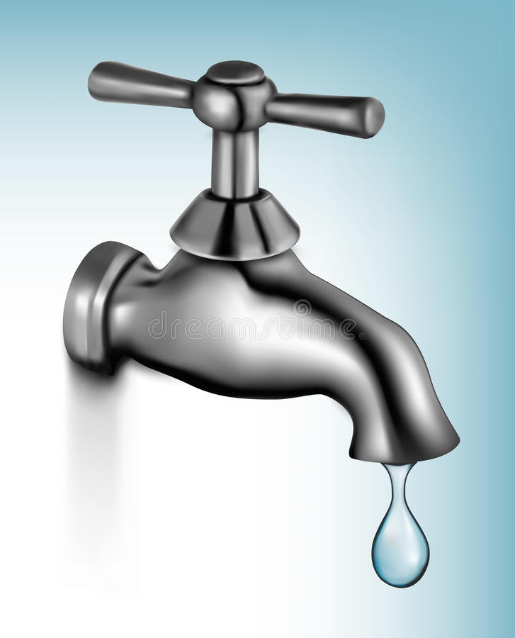 Download Water tap with drop stock vector. Image of loss, illustration - 24253236