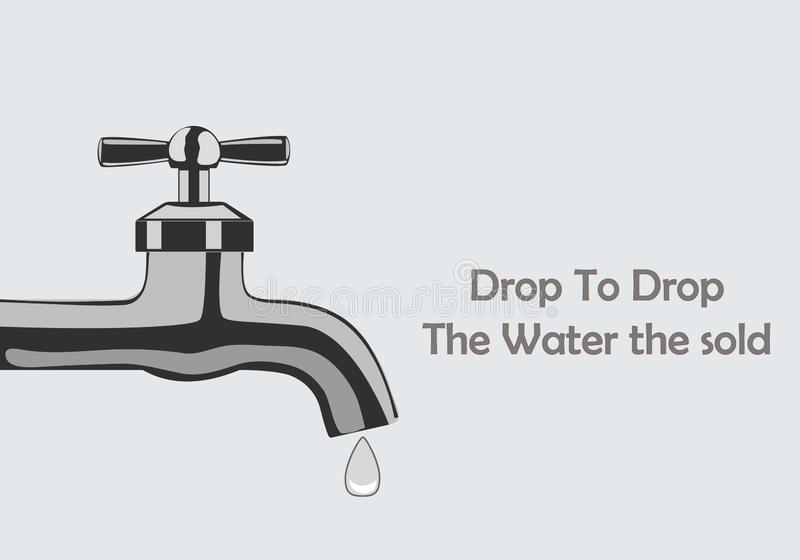 Water Tap with drops to create awareness about the environment and the importance of water vector illustration