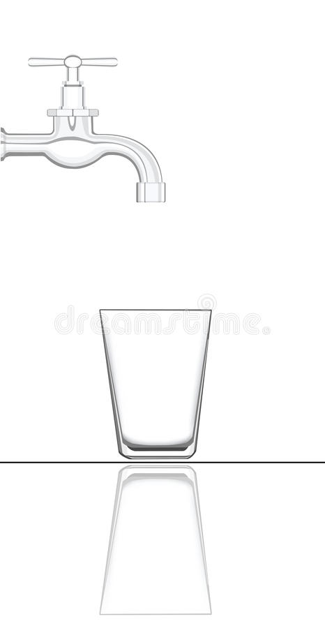 Water tap with empty glass royalty free illustration