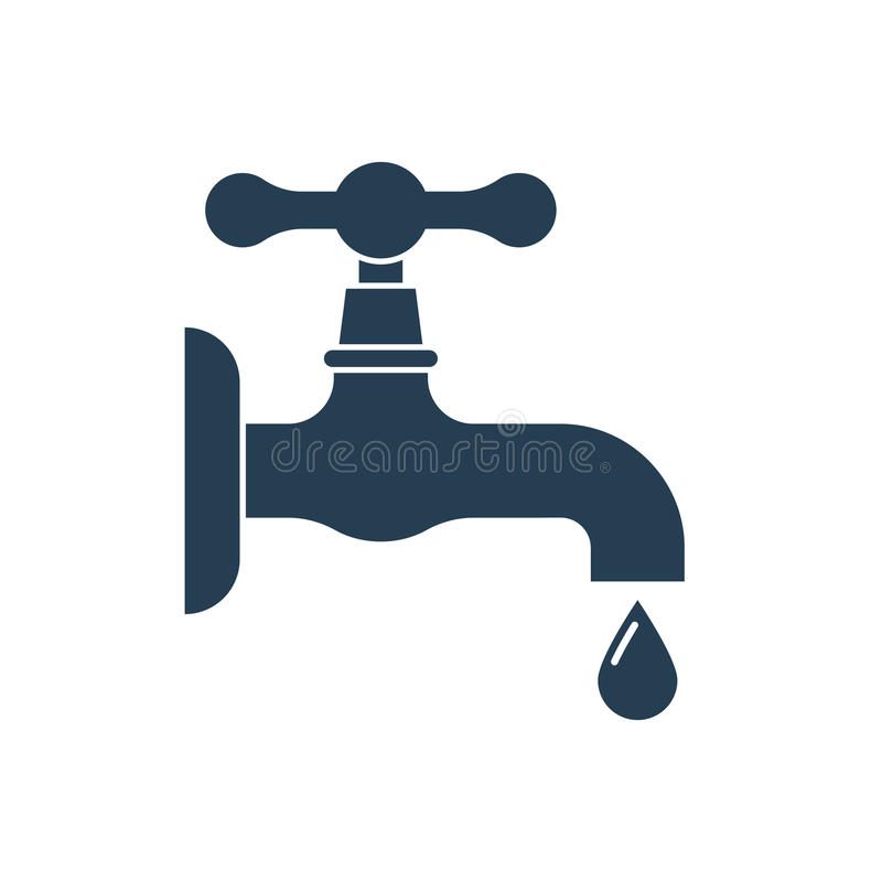 Water tap with falling drop. stock illustration