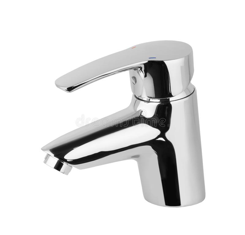 Water tap, faucet for the bathroom, kitchen mixer cold hot water. Chrome-plated metal . Isolated on a white background. Wall-mount stock photography