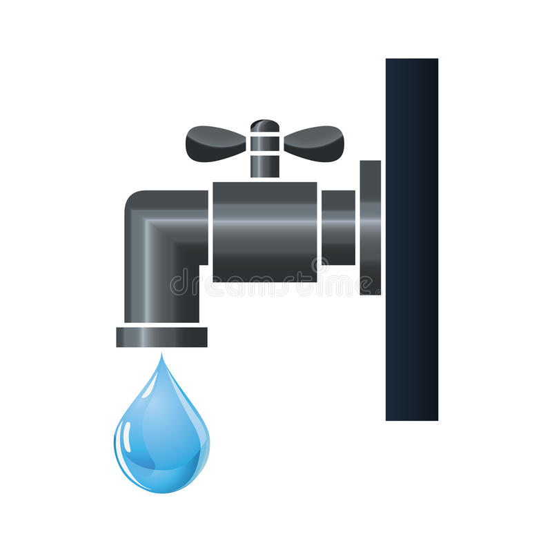 Water tap or faucet with droplet. Water tap with blue water droplet dripping stock illustration